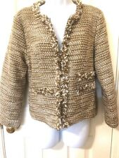 Cabi M Blazer Top Tweed #343 Gold White Fringe Phoebe Coat Tweed Jacket