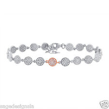 Womens 0.84CT 14K Two Tone Rose Gold Pave Diamond Circle Statement Bracelet