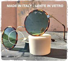OCCHIALI DA SOLE TONDO VINTAGE TARTARUGA VERDE LENNON hippie VETRO MADE IN ITALY