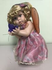 Vintage Fairy Porcelain Doll - Spring Floral Butterfly Sheer Wings In Box