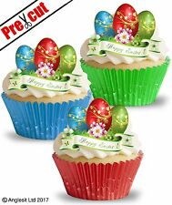 PRE-CUT HAPPY EASTER EGGS EDIBLE WAFER PAPER CUP CAKE PARTY TOPPERS DECORATIONS