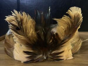 feather headdress, Head, Hat, Vintage Leather, Back Tie, Adjustable, Nice,