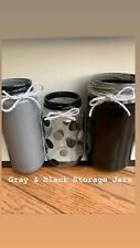 New ListingHand Painted Black & Gray Storage Jars