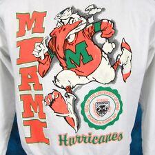 vtg 90s UNIVERSITY OF MIAMI HURRICANES SWEATSHIRT T-Shirt XXS florida cartoon t