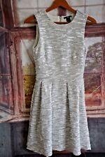 Women's H&M White/ Grey/ Silver Skater Dress - UK10
