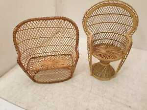 Wicker Dolls Chairs X 2 Used Good Condition (Y1)