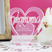 Personalised Heart Message Ornament Keepsake Birthday Grandma Mothers Day Gift
