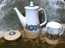 Vtg Figgio Flint Tor Viking Turi Design Coffee/Tea Pot, Creamer, Sugar Bowl Set