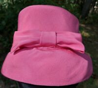 Vintage Ladies Church Cloche Bucket Formal Hat Hot Pink Fabric With Bow