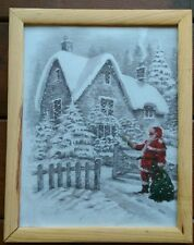 Santa's Star Santa Claus Christmas Décor Framed Art Print Wall Décor Picture 12""