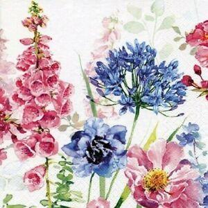 4 x Single Paper Napkins/3-Ply/33cm/Decoupage/Flowers/Foxglove and Agapanthus