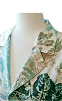 Chico's Women's Size 2 Silk Blend Floral Buttoned Long Sleeve Lined Blazer Large