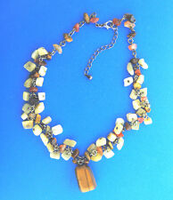 Carnelian Agate Chip Bead Necklace Choker Tiger Eye Pendant 1/2x16-20""