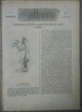 1855 RIVISTA L'ALBUM DI ROMA SU SCULTORE MARIO FINELLI DA CARRARA