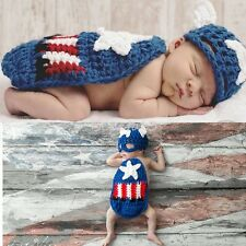Newborn Baby Captain America Crochet Knit Costume Photo Photography Prop Outfits