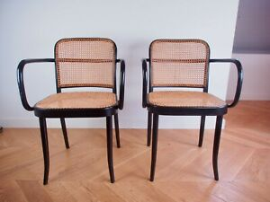 2 THONET / LIGNA No. A 811 Bentwood by Josef Hoffmann Set of 2 Original Paint