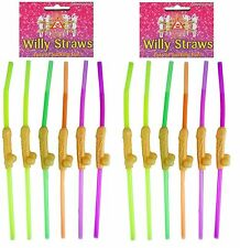 24 X Neon Willy Rude Drinking Straws Hen Party Fun Night Do Accessories C51 203