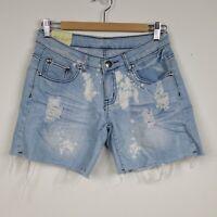 Machine Nouvelle Mode Women's Size 28 Bleach Wash Distressed Cut Off Jean Shorts