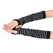 Women Gloves Winter Wrist Arm Hand Warmer Knitted Long Fingerless Mitten Black