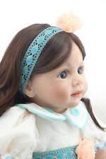 "24"" Vinyl Handmade Reborn Silicone  Baby Toddler Doll Lifelike Long Hair Dolls"