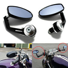 "BLACK 7/8"" HANDLE BAR END MIRRORS FOR CUSTOM BOBBER CAFE RACER BUELL CLUBMAN ATV"