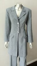 Two 2 Piece Gray 3/4 length Blazer Jacket Wide Leg Trousers Career Pants Suit 12