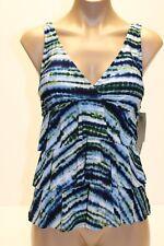 NWT Magic Suit  by Miraclesuit Swimsuit Bikini Tankini Top Blue Green Sz 16