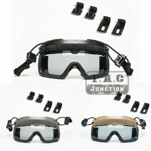 Tactical Anti-Fog Ballistic Goggle Grey Lens Safety Eyeglasses for FAST Helmet