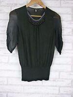 NOUGAT LONDON Knit Top/blouse Sz 1 Silk Wool Mix Black Beaded Neckline