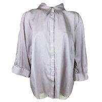 Chaps No Iron Cotton Plus 3X Micro Dot Button Blouse 3/4 Sleeve D4