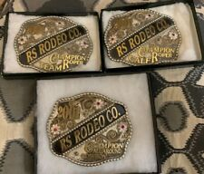 (3) 2001 CHAMPION RODEO TROPHY BELT BUCKLES Team/Calf/All Around RS RODEO CO