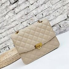 Brand New Charles and Keith Quilted Push Lock Shoulder Bag Medium Size Taupe