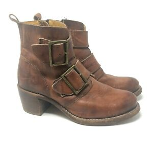 Frye Size 9 Sabrina Double Buckle In Saddle Montana Stone Wash Ankle Boots