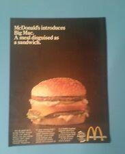 1969 McDonald's Hamburgers Introduces Big Mac Fast Food Memorabilia Promo Art Ad