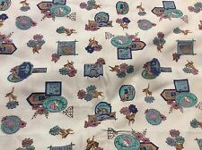 6 1/2 YARDS OF VINTAGE BLUE WITH FLOWERS & SIGNS PRINT COTTON FABRIC