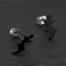 Titan Titanium Ohrstecker Ohrringe schwarz Gecko Salamander Silber Surfer Biker