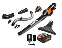 WORX WG545.4 AIR 20V PowerShare 4.0 ah Cordless Blower with Attachments and Bag