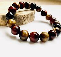 Blue Red Natural Tigers Eye Semi Precious Stone Crystal Energy Beaded Bracelet