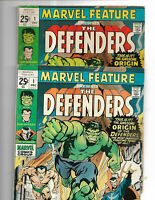 **WOW**  MARVEL FEATURE #1 1st APP AND ORIGIN THE DEFENDERS LOT OF 2