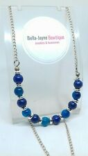 Lapis Lazuli & Blue Agate Beaded Necklace focal statement pendant jewellery gift