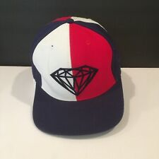 Red White Blue Diamond Supply Co. Leather Strap Adjustable Hat Cap Clean