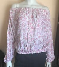 4e2744ef4c36de NWT Asos Womens White   Pink Floral Off the Shoulder Button Down Blouse Size  2
