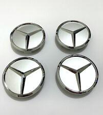 SET OF 4 MERCEDES-BENZ 60MM SILVER WHEEL BADGE CENTER CAPS For Mercedes