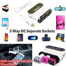 12V/24V Car Cigarette Lighter Adapter 3 Way DC Socket Dual USB Car Charger 3.1A