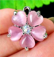 22x20x5mm Alloy Insert Pink Cat Eye Gemstone Flower Pendant Bead AP14041
