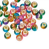 100pcs Charming 2 Tone Glass European Beads Spray Painted Large Hole Charms 15mm