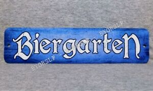Metal Sign BIERGARTEN beer garden German bar brewery pub hall drinking blue #2