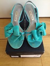 PEDRO Miralles turchese sandali in pelle scamosciata UK4 usato/in Scatola