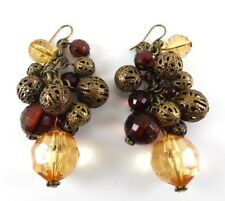Antique Bronze Cluster Earrings With Faceted Amber Lucite Beads By Mikey London