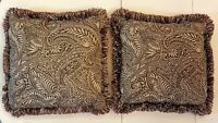 "Throw Pillow LOT 15"" Square Brown Gray Beige Print Fringe Accent Home Decor"